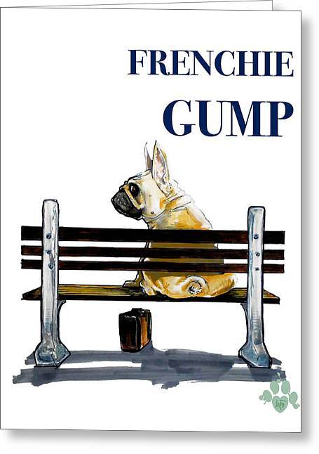 Forest Gump French Bulldog Caricature Art Print Greeting Card