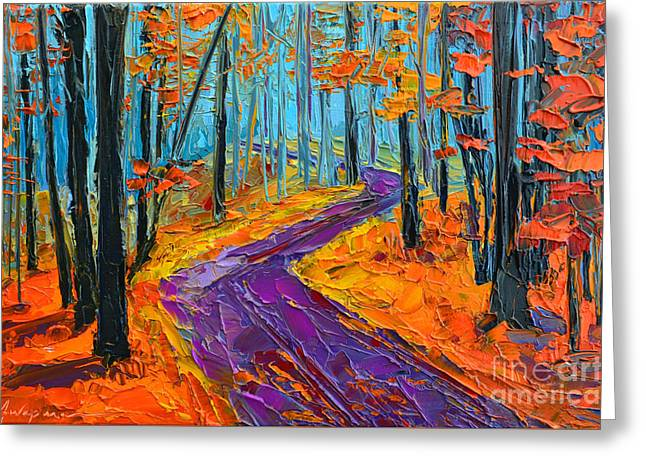 Greeting Card featuring the painting Autumn Forest And Purple Path - Orange Red Foliage - Modern Impressionist Knife Palette by Patricia Awapara