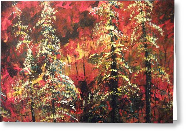 Greeting Card featuring the painting Forest In The Red by Dan Whittemore
