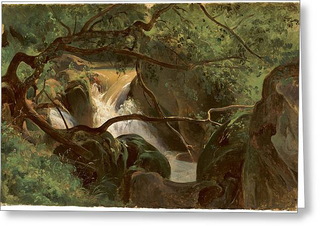Forest Interior With A Waterfall Papigno Greeting Card