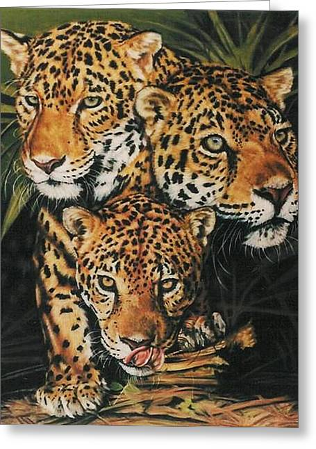 Jaguars Pastels Greeting Cards - Forest Jewels Greeting Card by Barbara Keith