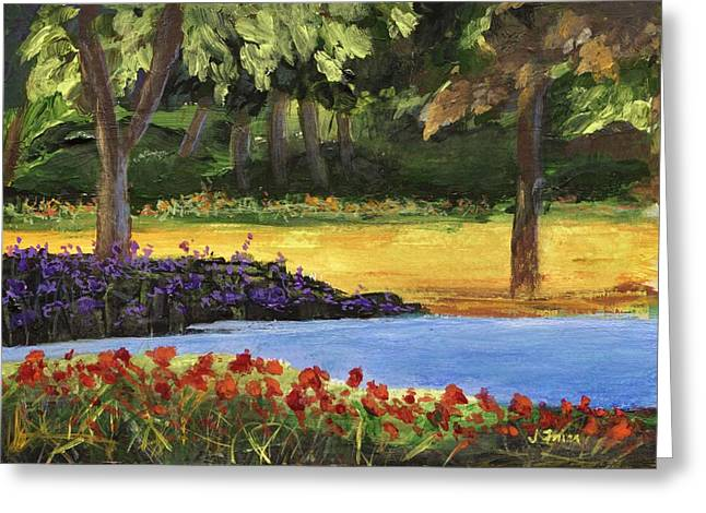 Greeting Card featuring the painting Forest Lake by Jamie Frier