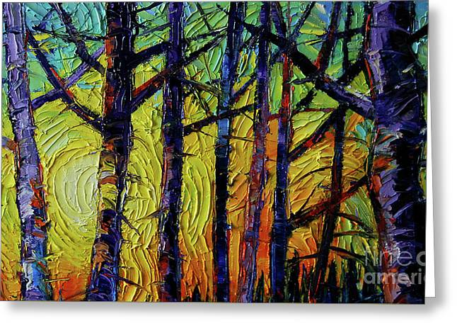 Forest Layers 1 - Modern Impressionist Palette Knives Oil Painting Greeting Card by Mona Edulesco