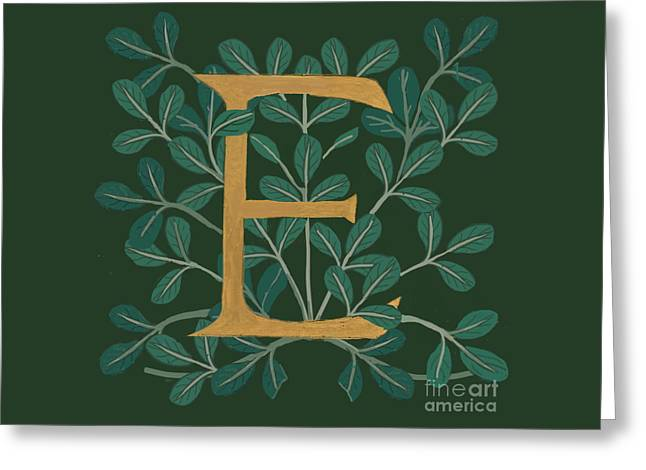Forest Leaves Letter E Greeting Card
