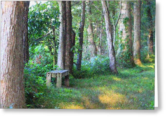 Forest Meditation In Summer Greeting Card by Dan Sproul