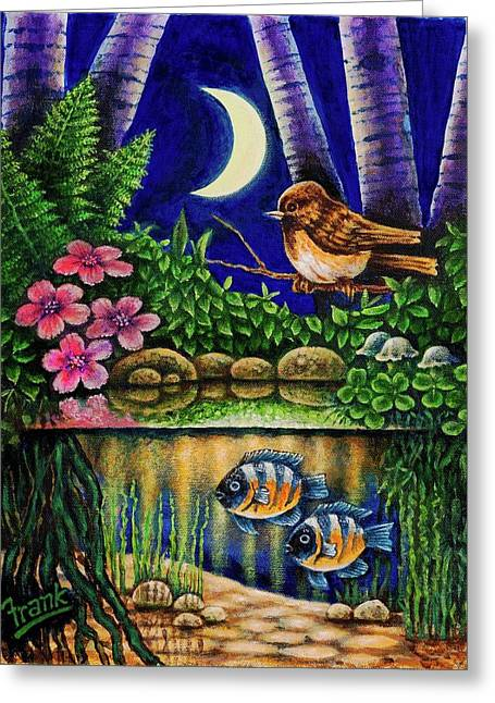 Greeting Card featuring the painting Forest Never Sleeps Chapter Of Quarter Moon by Michael Frank