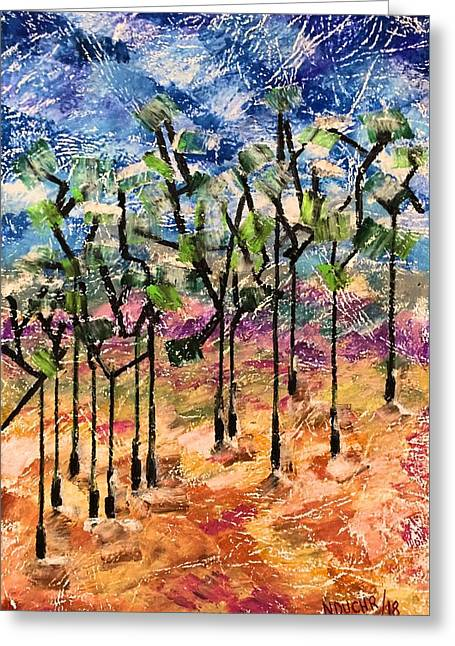 Greeting Card featuring the painting Forest by Norma Duch
