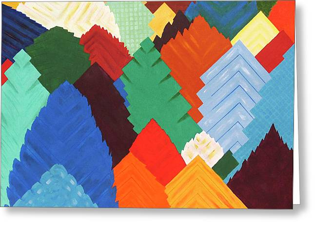 Forest Of Squares - Patchwork Forest Abstraction Greeting Card by Rayanda Arts