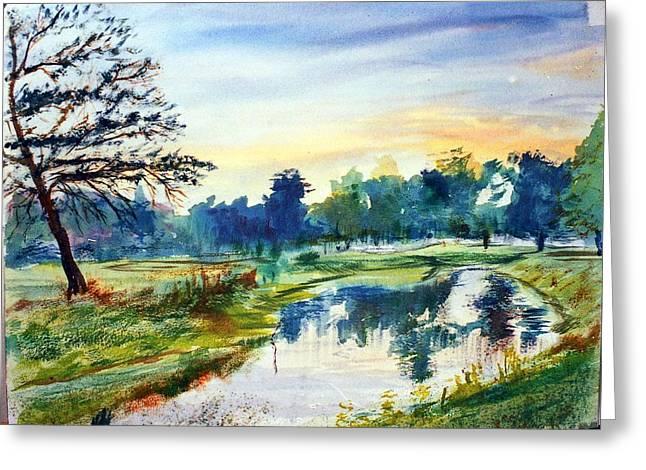 Forest Park At Dawn Greeting Card by Horacio Prada