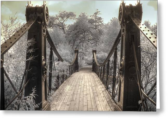 Forest Park Victorian Bridge Saint Louis Missouri Infrared Greeting Card by Jane Linders