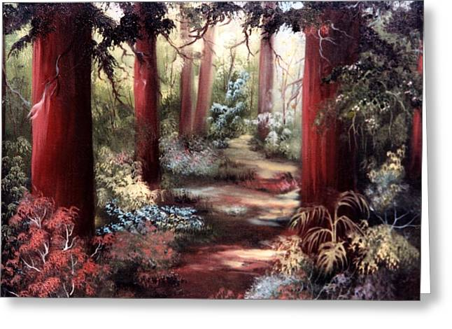 Greeting Card featuring the painting Forest Path by Joni McPherson