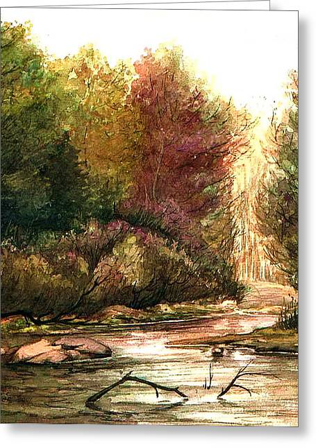 Greeting Card featuring the painting Forest Puddle by Mikhail Savchenko
