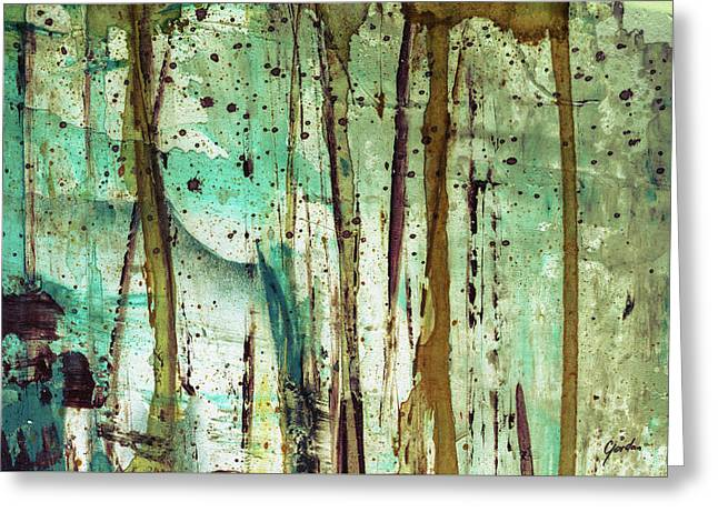 Forest Rain - Abstract Forest Landscape Art Painting Greeting Card
