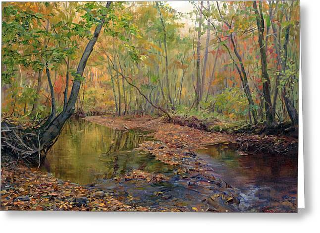 Forest River In Early Fall Greeting Card