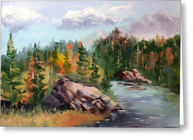 Forest River Landscape Oil Painting By Artist Mark Webster. Greeting Card