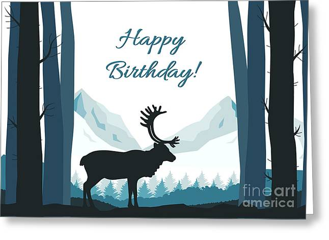 Greeting Card featuring the digital art Forest Silhouette Birthday by JH Designs