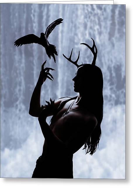 Forest Spirit Greeting Card by Cambion Art