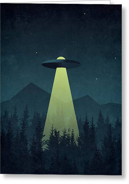 Forest Ufo Greeting Card