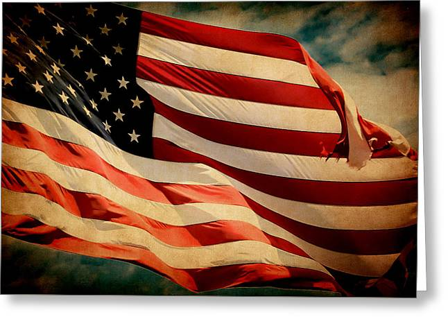 Forever Red White And Blue Greeting Card by Athena Mckinzie