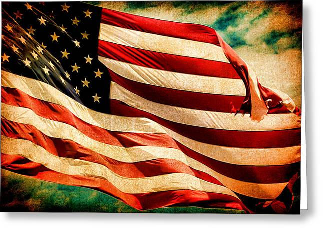 Forever Red White And Blue II Greeting Card by Athena Mckinzie