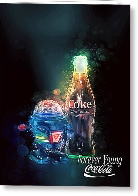 Greeting Card featuring the photograph Forever Young Coca-cola by James Sage