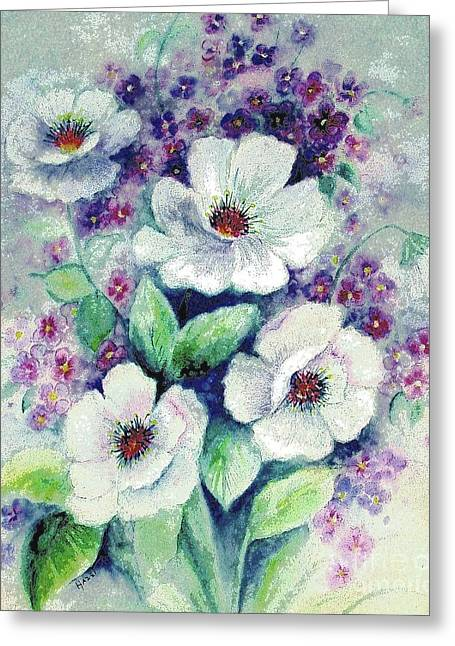 Greeting Card featuring the painting Forget-me-knots And Roses by Hazel Holland
