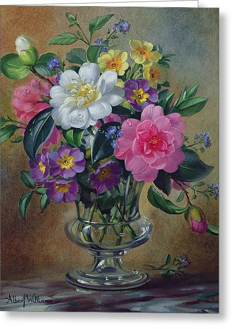Forget Me Nots And Primulas In Glass Vase Greeting Card by Albert Williams