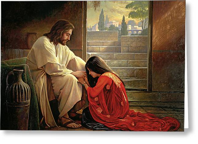 Sins Be As Scarlet Paintings Greeting Cards - Forgiven Greeting Card by Greg Olsen