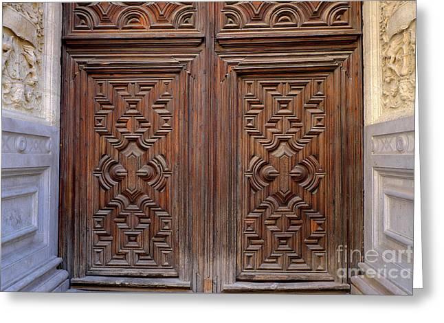 Forgiveness Door Details Granada Cathedral Greeting Card