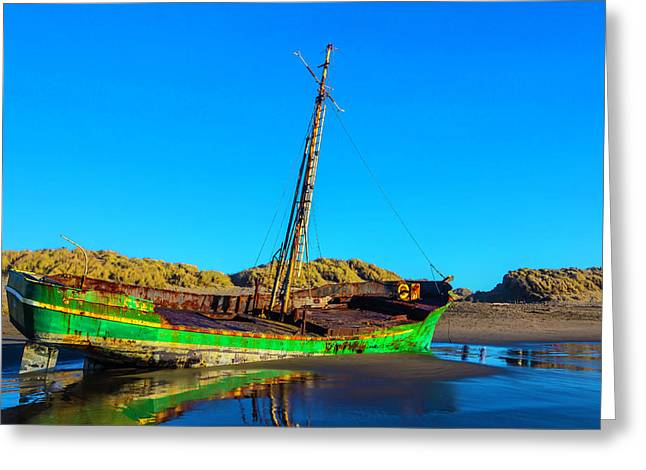 Forgotten Green Fishing Boat Greeting Card by Garry Gay
