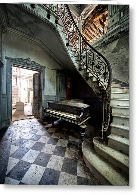 Forgotten Ancient Piano - Urban Exploration Greeting Card