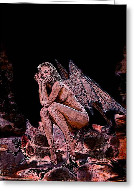 Forgotten Angel Greeting Card by Tbone Oliver