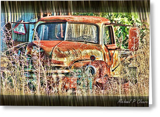 Greeting Card featuring the digital art Forgotten Machine by Michael Cleere