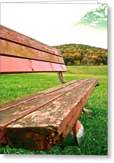 Forgotten Park Bench Greeting Card by Jennifer Addington