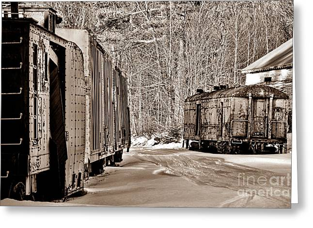 Forgotten Trains In Winter Greeting Card by Olivier Le Queinec