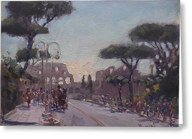 Fori Romani - Street To Colosseo Greeting Card by Ylli Haruni