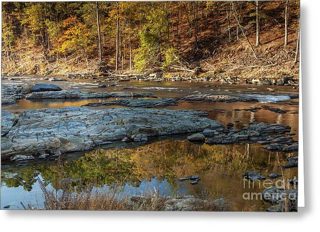 Greeting Card featuring the photograph Fork River Reflection In Fall by Iris Greenwell
