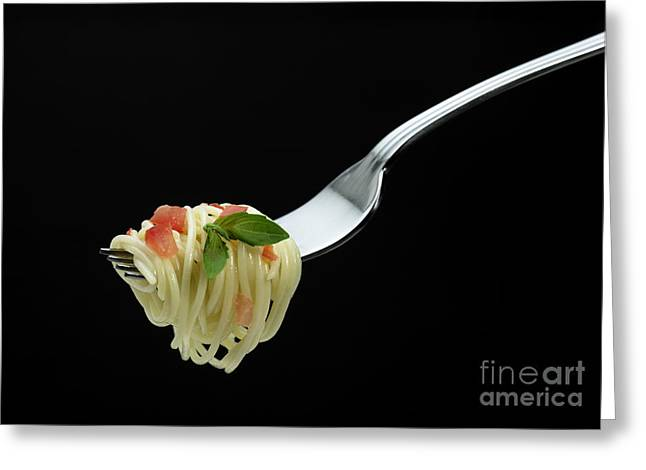 Fork With Spaghetti, Tomato And Basil Greeting Card