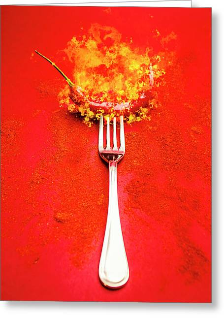 Forking Hot Food Greeting Card by Jorgo Photography - Wall Art Gallery