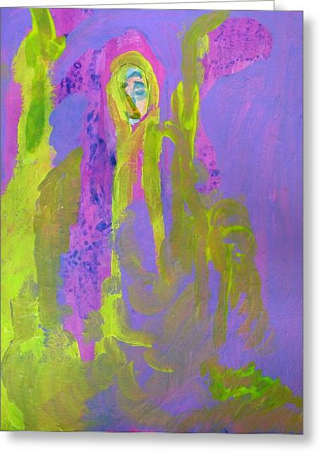 Forlorn In Purple And Yellow Greeting Card
