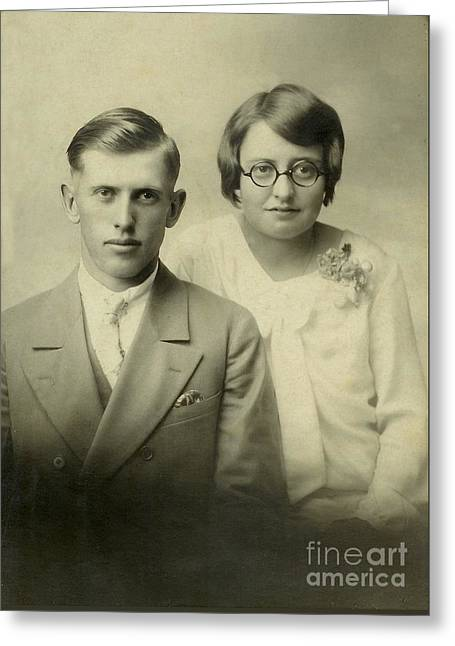 Formal Wedding Portrait Ca 1920 Greeting Card by Ken DePue