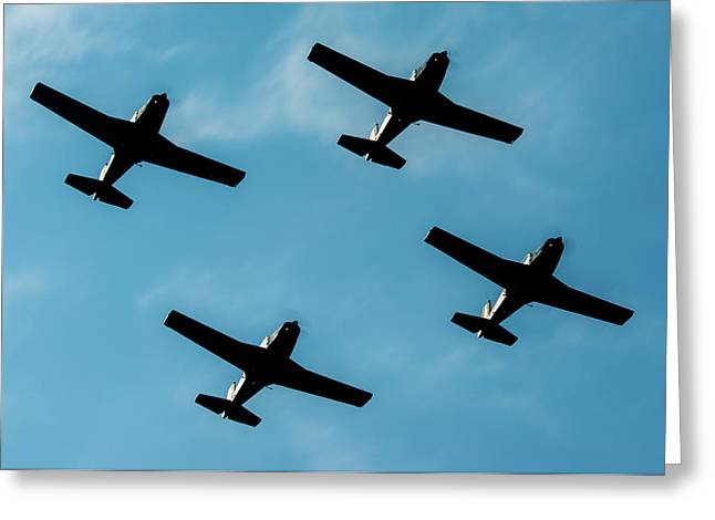 Formation Marchetti In A Little Air Show  Greeting Card by Roberto Chiartano