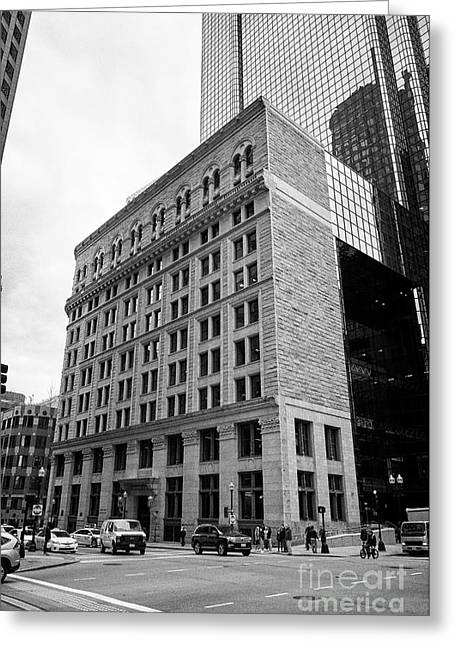 former boston stock exchange building facade to exchange place Boston USA Greeting Card