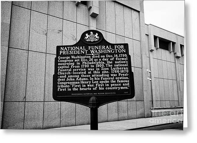 former site of zion lutheran church national funeral for president washington plaque Philadelphia US Greeting Card