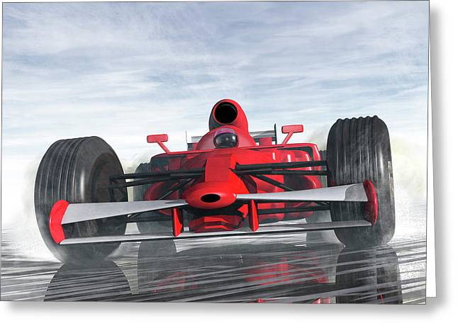 Formula One Racer Greeting Card by Carol and Mike Werner