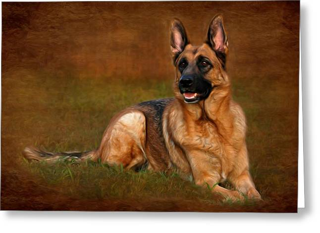 Forrest The German Shepherd Greeting Card by Angie Tirado