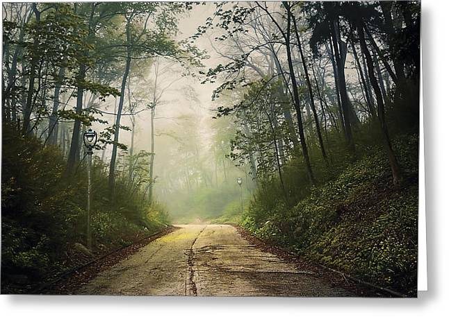Somber greeting cards fine art america forsaken road greeting card m4hsunfo