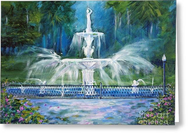 Forsyth Fountain In Savannah Greeting Card by Doris Blessington