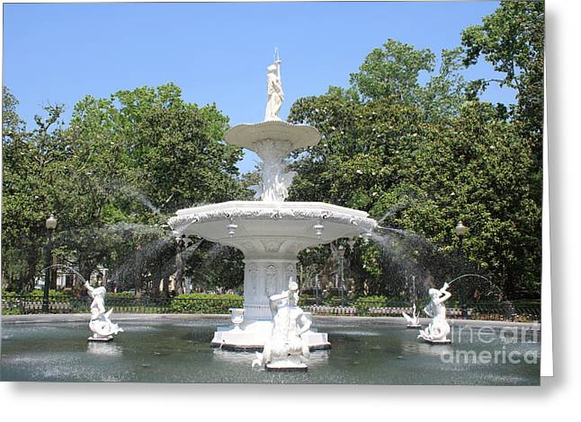 Forsyth Park Fountain With Blue Sky Greeting Card by Carol Groenen