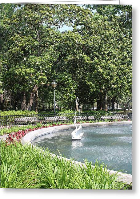 Forsyth Park Fountain With Swan And Magnolias Greeting Card by Carol Groenen